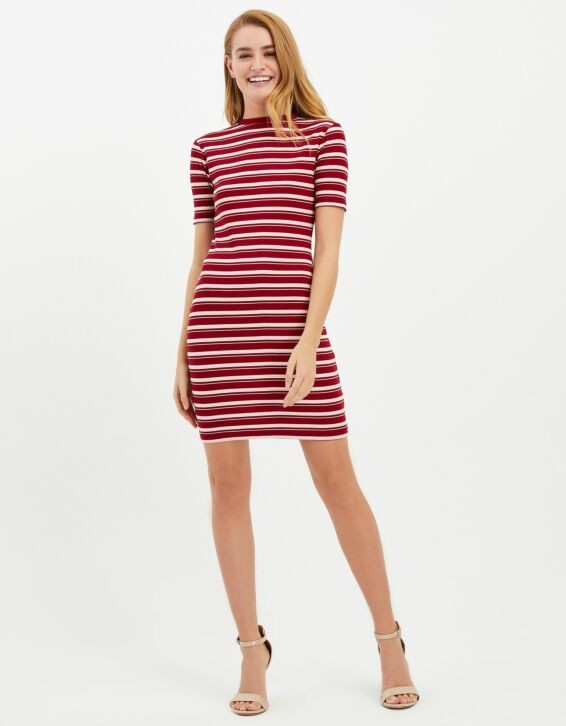 Rotes, gestreiftes Midi-Kleid