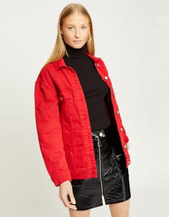 Rote Denim Jacke