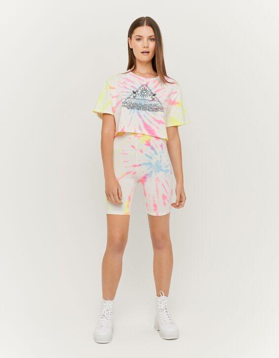 Neonfarbige Tie & Dye Radlerhose