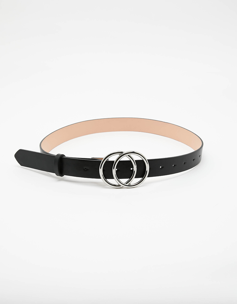 Double Circle Belt with Croc Print