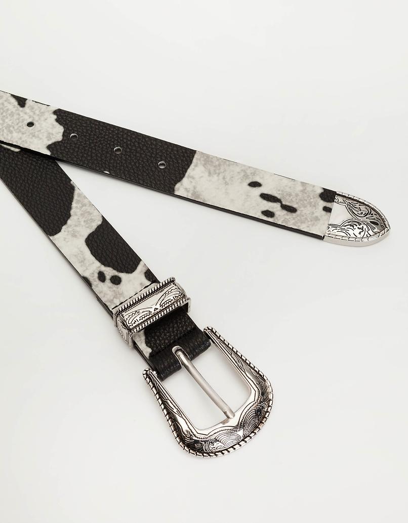 Western-Style Gürtel mit Kuh-Muster