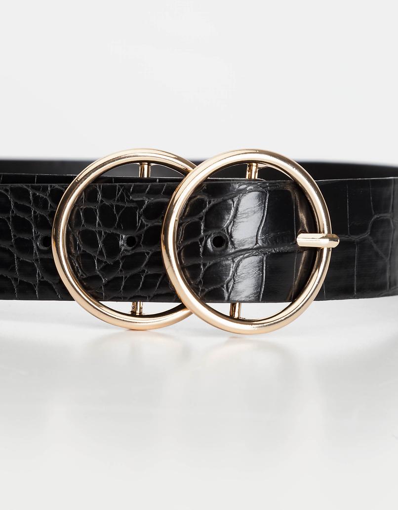 Schwarze Gürtel mit Schlangen Print