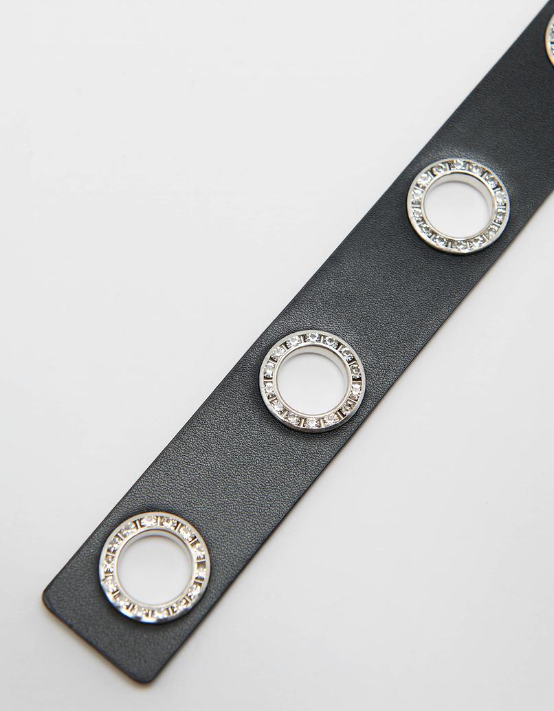 Skinny Eyelet Belt with Strass