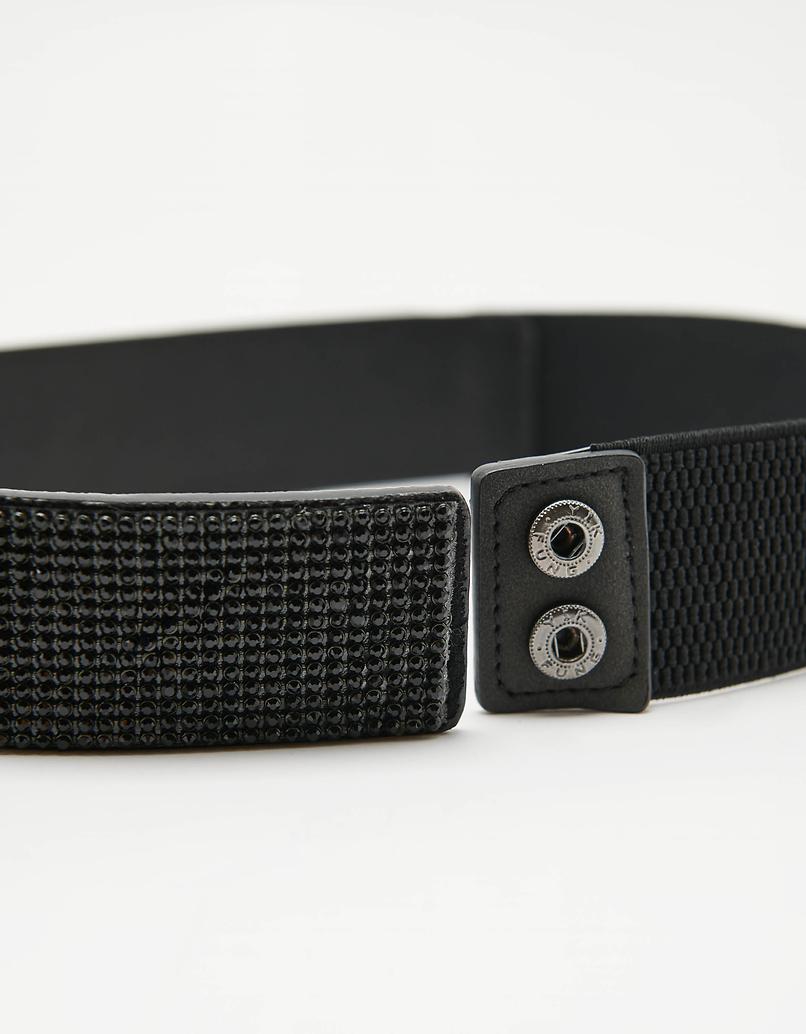 Black Wide Elastic Strass Belt