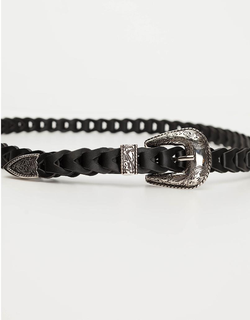 Black Western Braided Belt