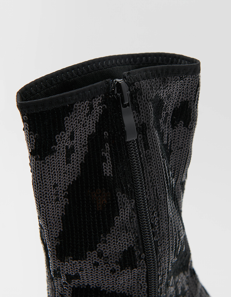 Black Sequins Heeled Boots