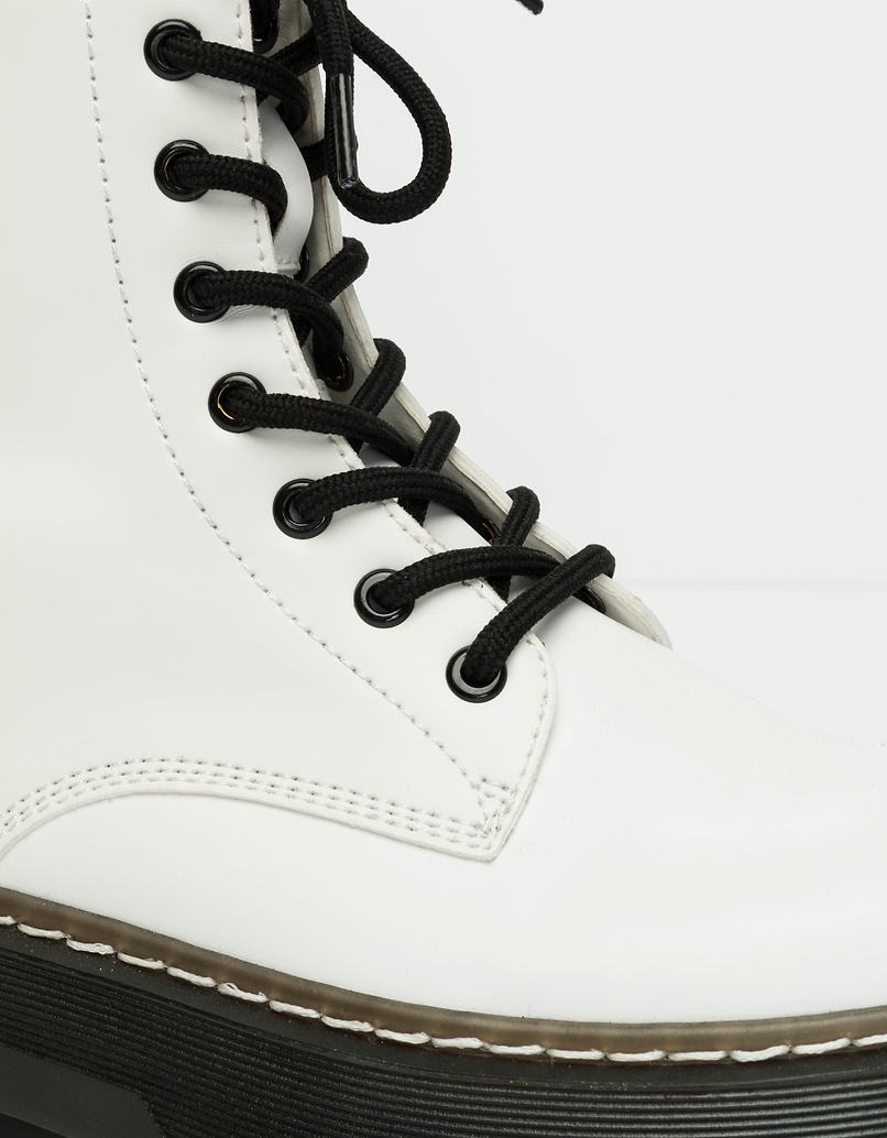 White Lace-up Ankle Boots