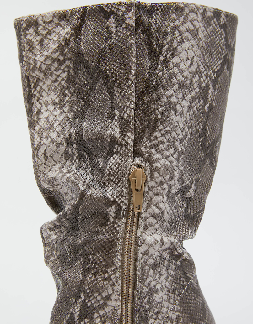 Snake Print High Boots