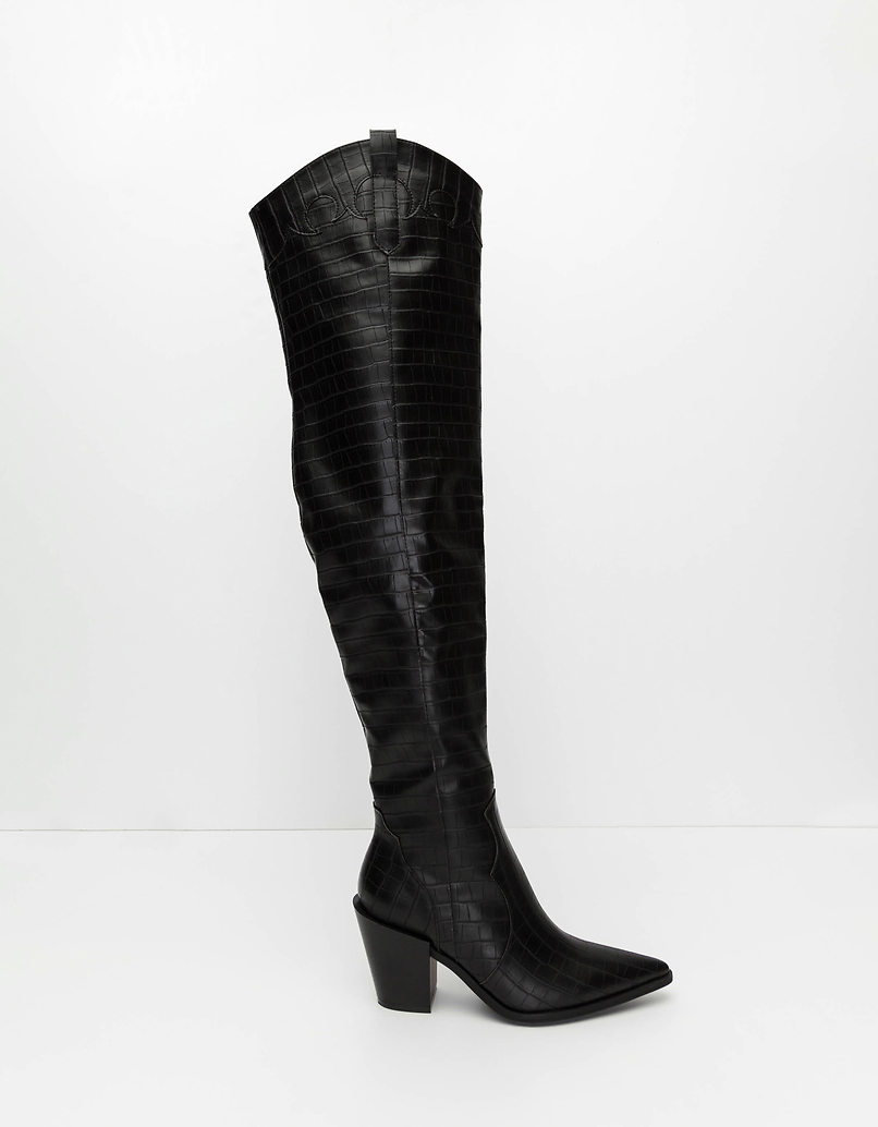 Black Faux Croc High Boots