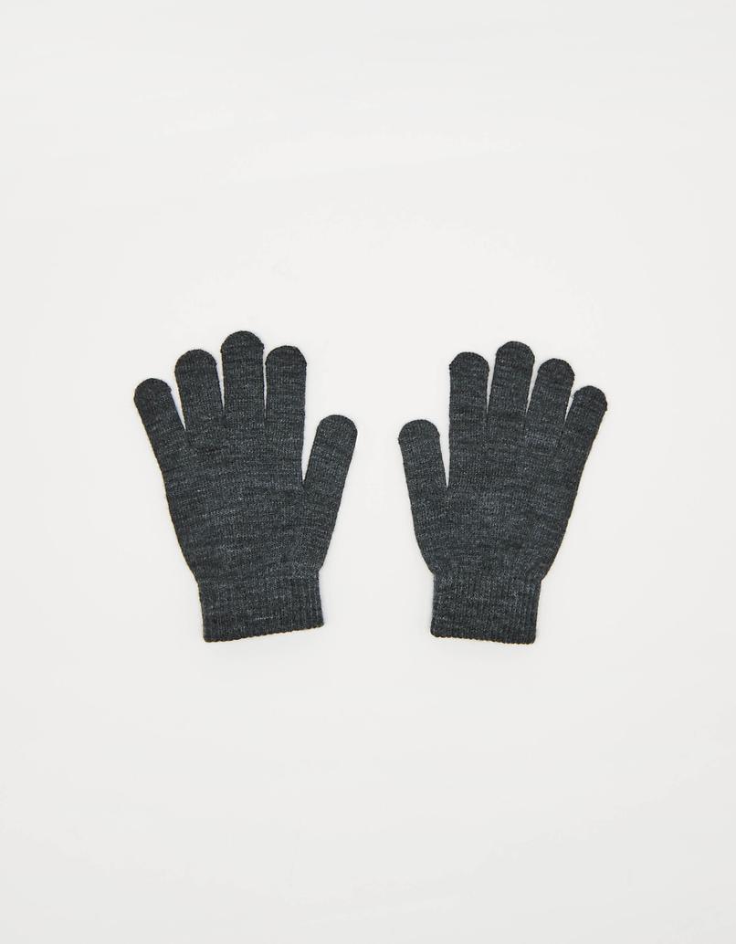 Szare rękawiczki z dzianiny