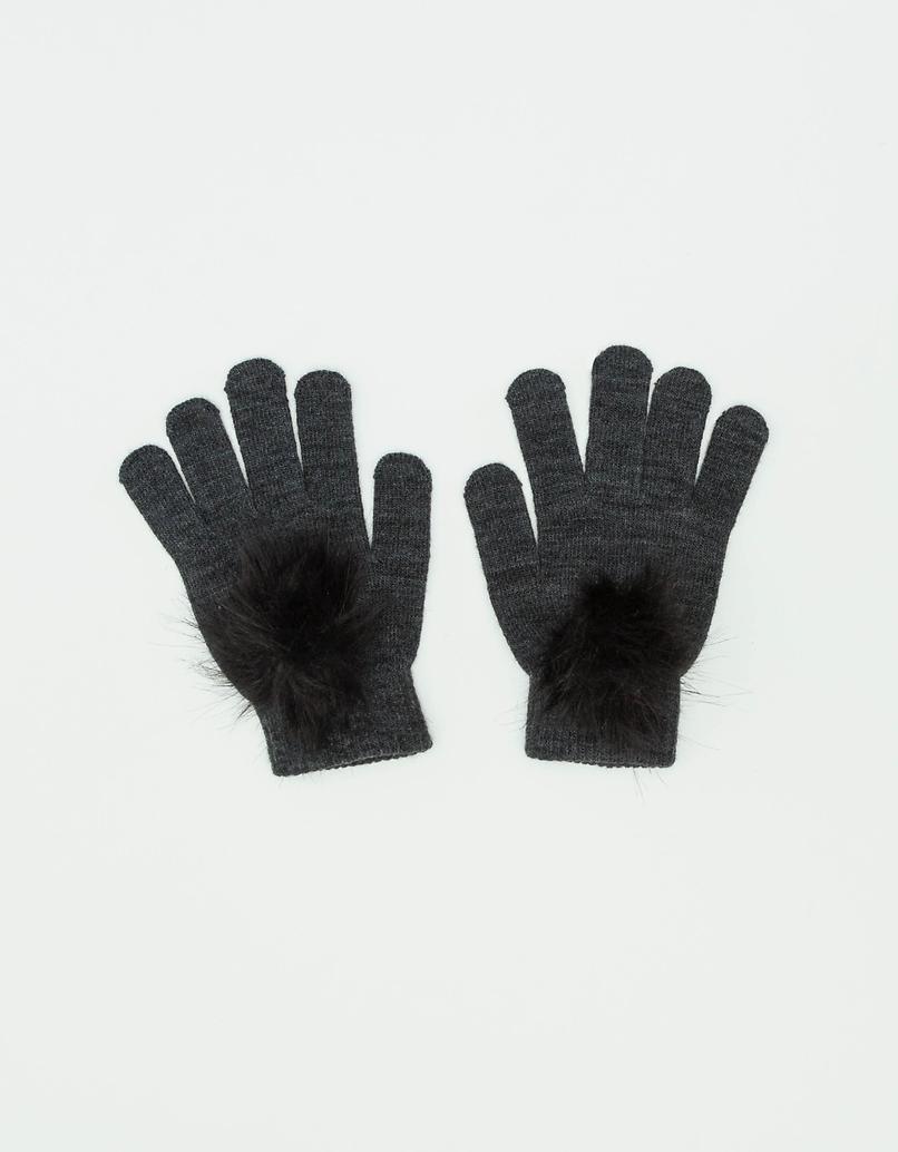 Knit Gloves with Pompom