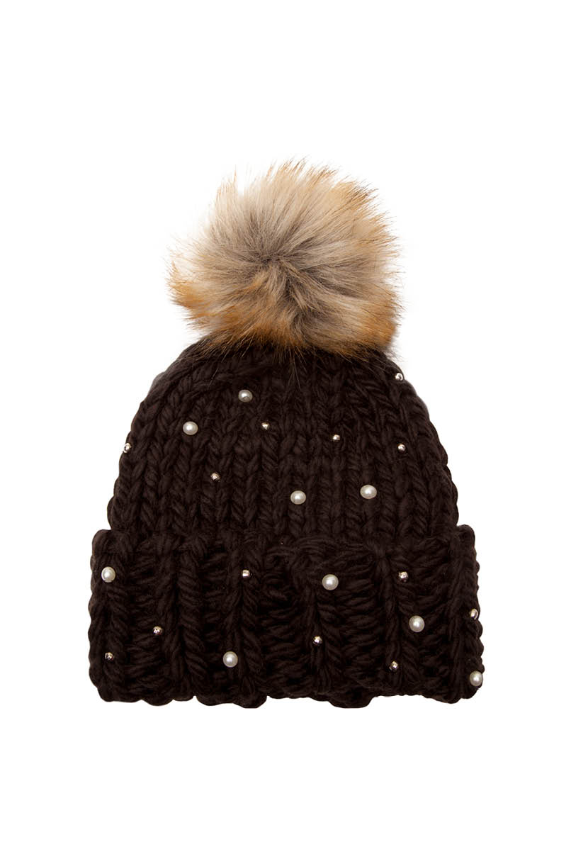 Black Beanie with Pearls