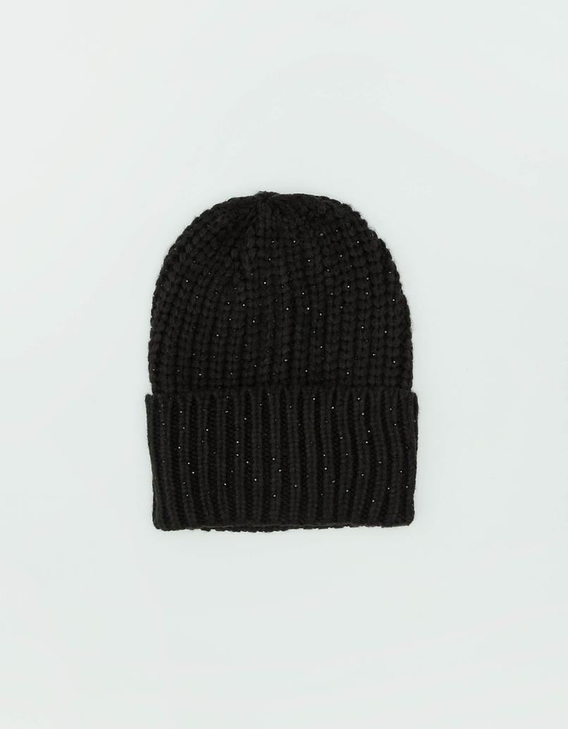 Czarna prążkowana czapka z kryształkami