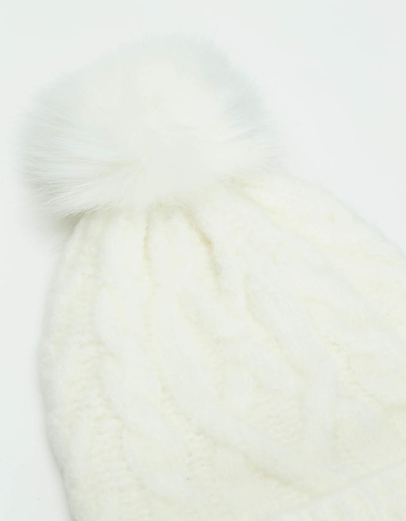 Bonnet Blanc en Maille à Pompom