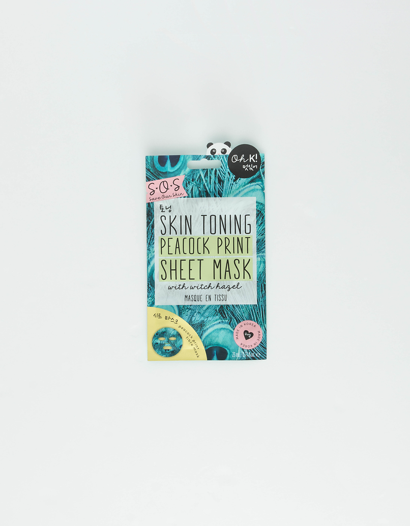 Oh K! Skin Toning Peacock Print Sheet Mask