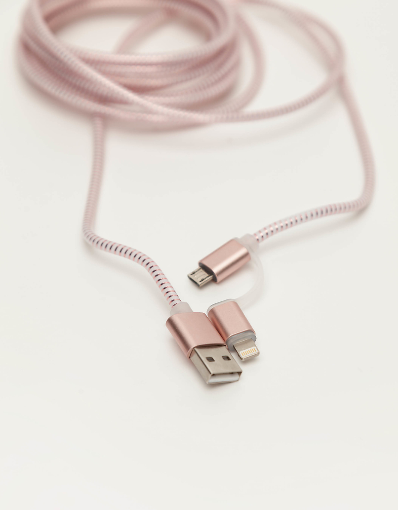 Rose Gold 2 in 1 USB cable
