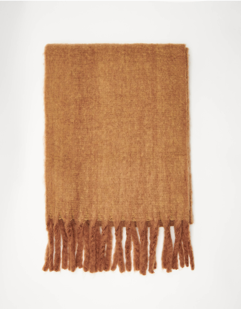 Camel long Scarf with Tassels