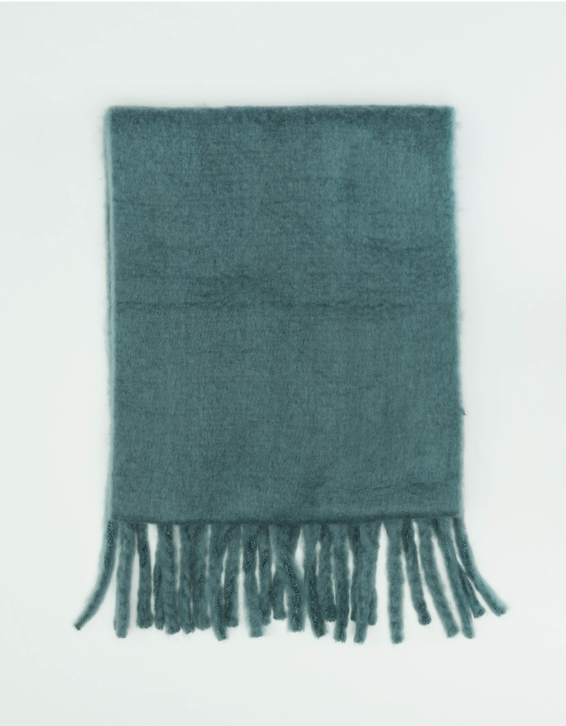 Blue Long Scarf with Tassels
