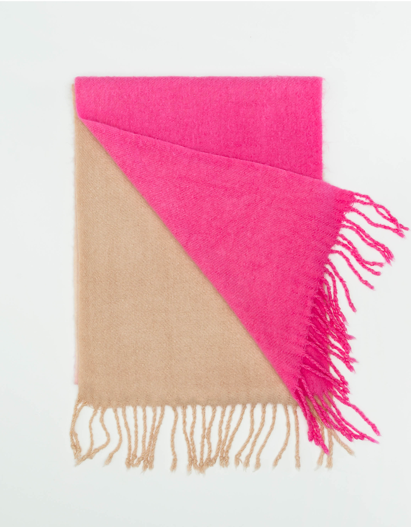Colourblock Scarf with Tassels