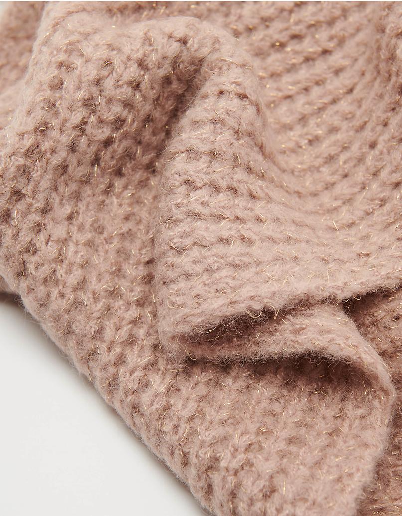 Różowy szalik z lureksu