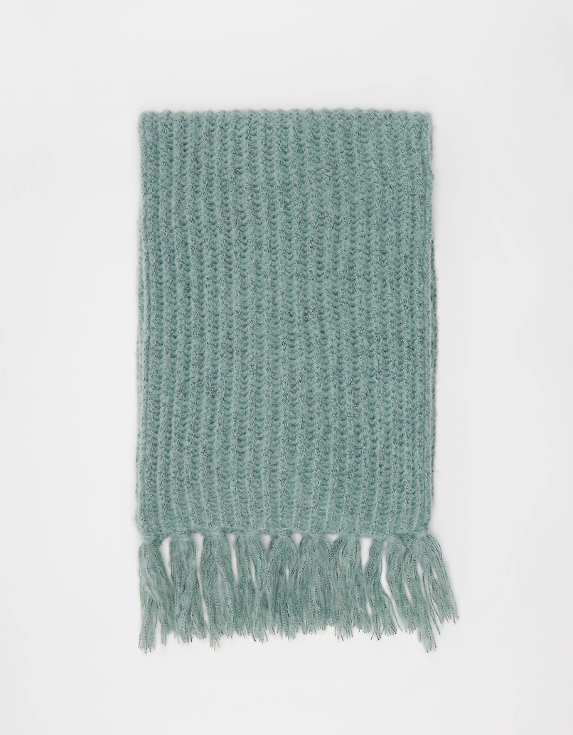 Green Rib Knit Scarf with Fringes