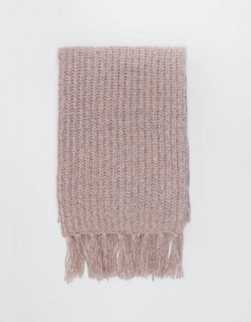 Pink Rib Knit Scarf with Fringes