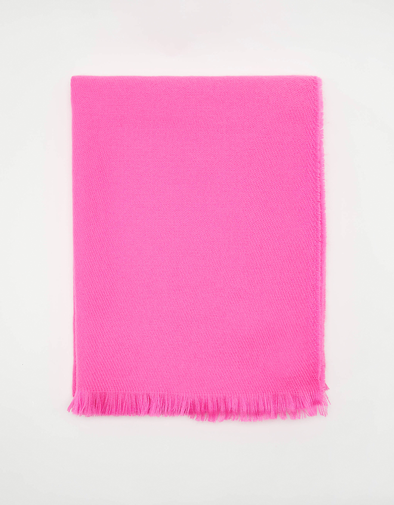 Bright Pink Scarf with Tassel Trim