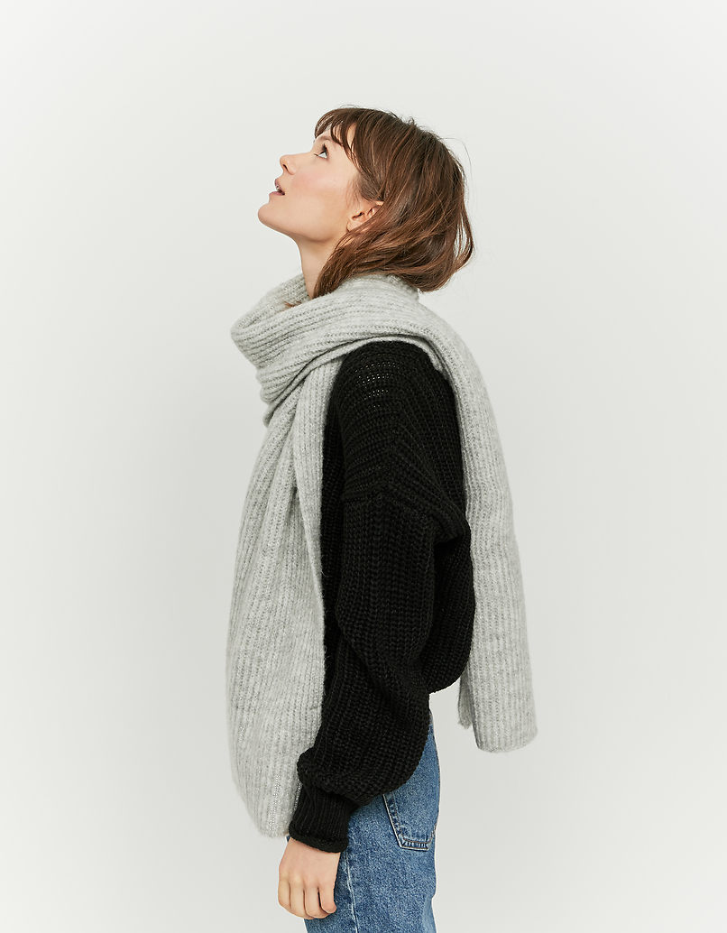 Rib-Knit Scarf with Strass Detail
