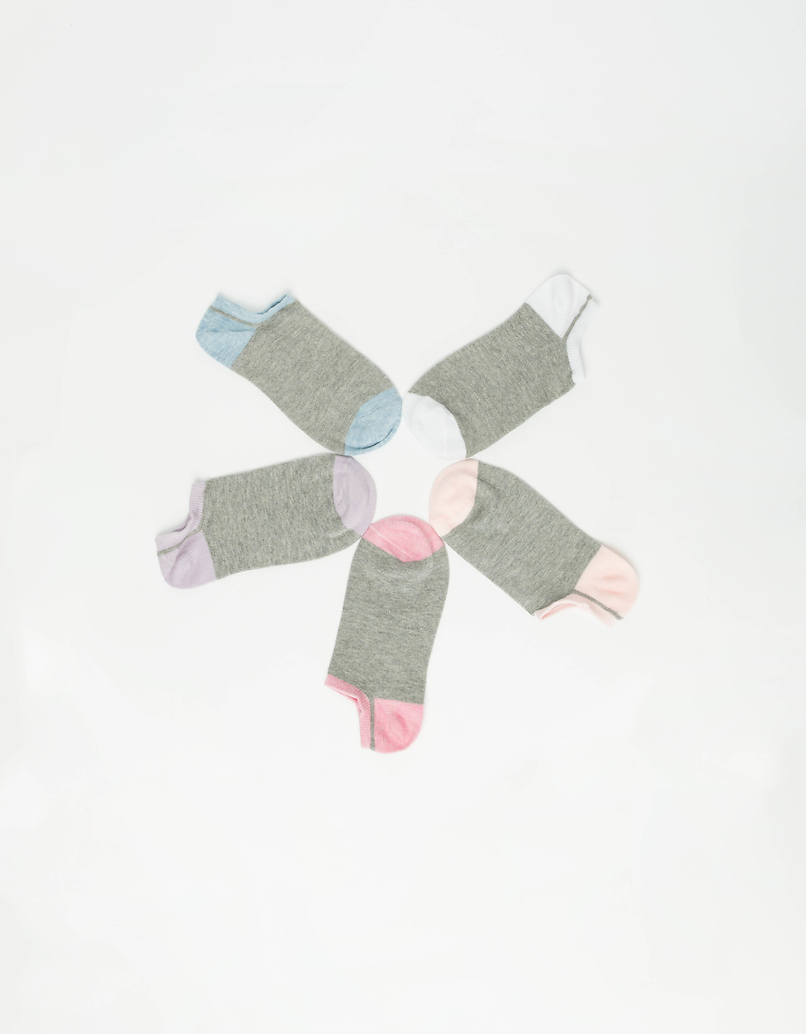 5 Pack Trainer Socks with Contrast Detail