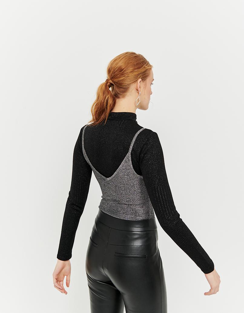 Grey Lurex Bodysuit