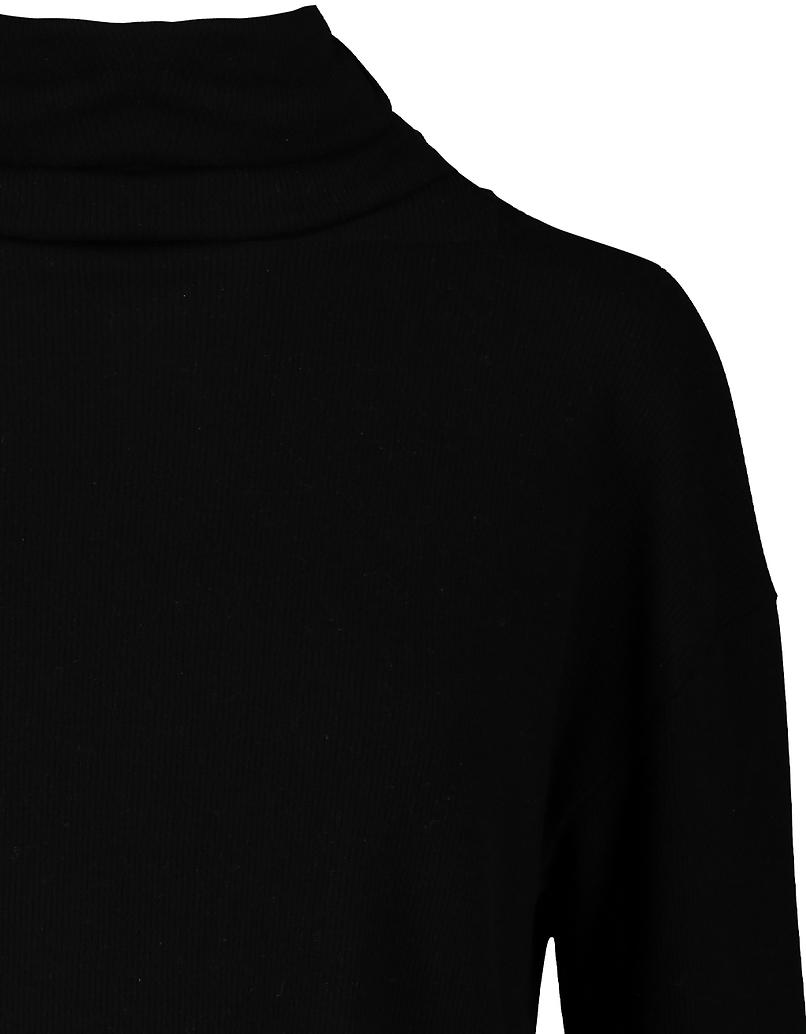 Schwarzes Crop Top mit Stehkragen