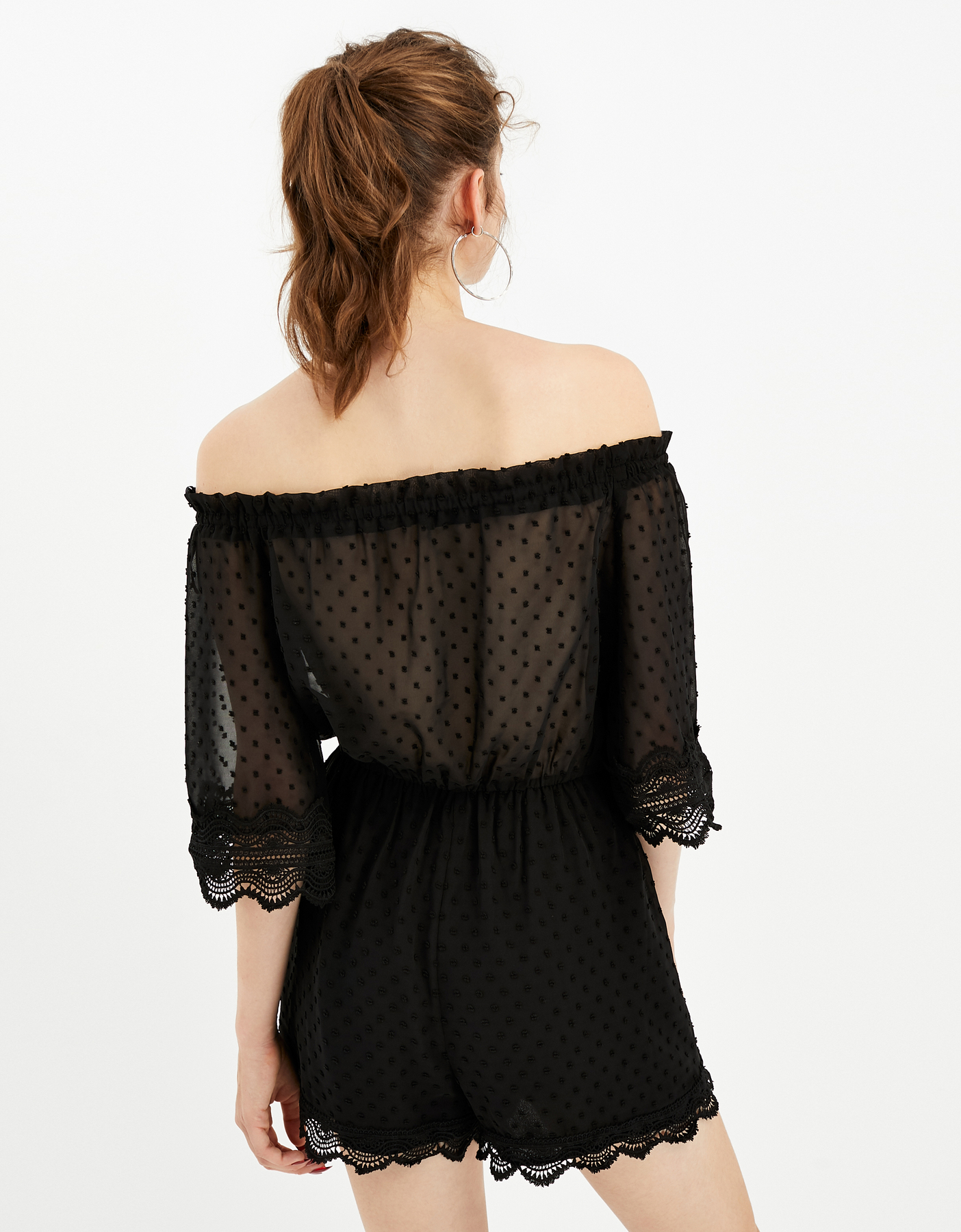 Black Dotted Mesh Playsuit