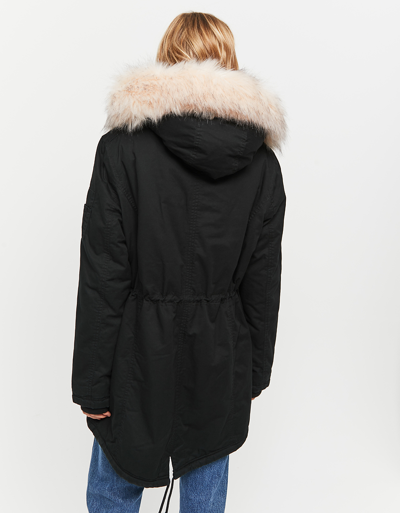 Padded Black Parka with Faux Fur Trim