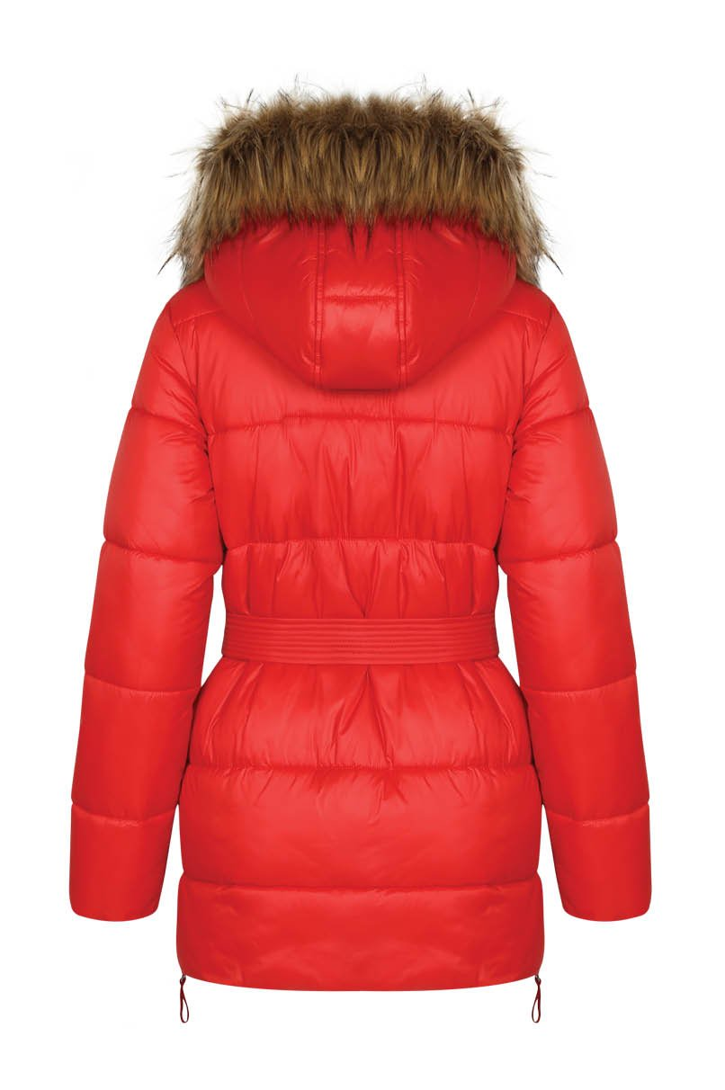 Red Puffer Jacket with Hood
