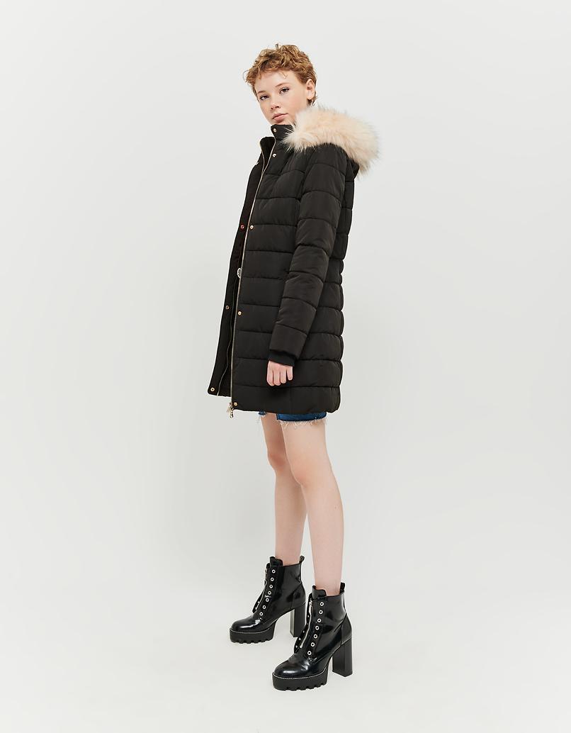 Black Faux Fur Lined Puffer Coat