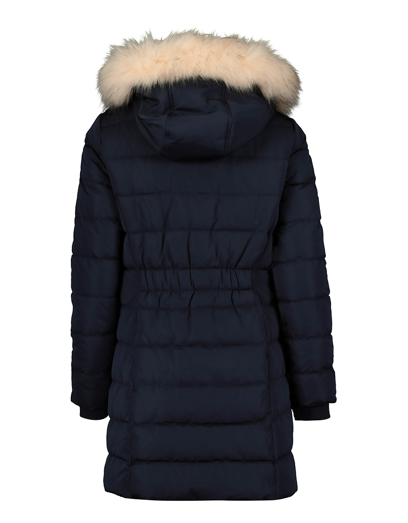 Blue Faux Fur Lined Puffer Coat
