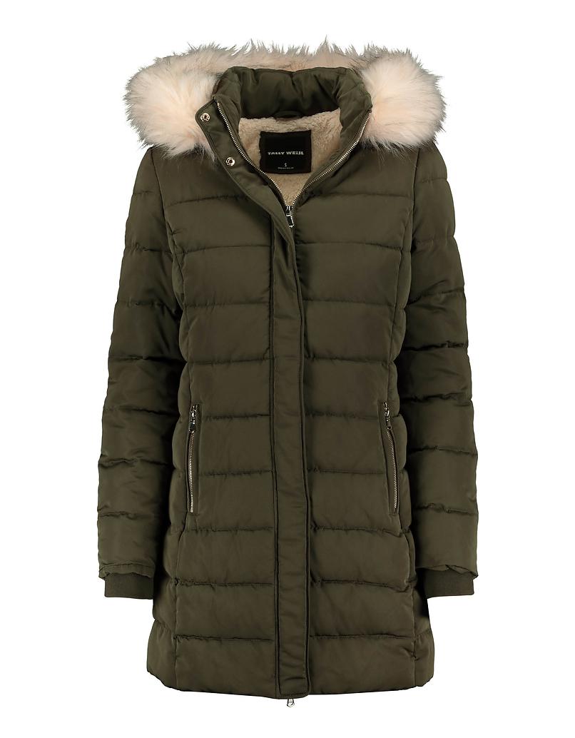 Green Faux Fur Lined Puffer Coat