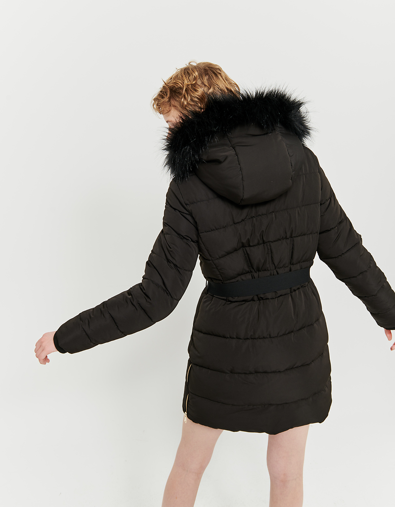 Black Faux Fur Lined Puffer Coat