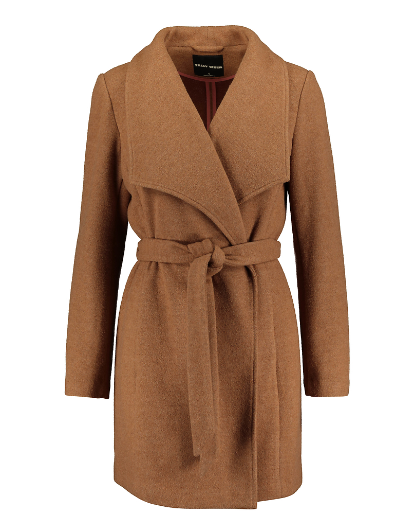 Camel Wrap Front Coat