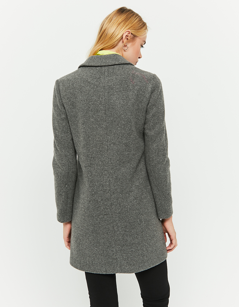 Grey Straight Fit Coat