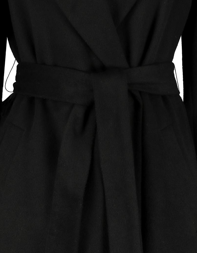 Black Straight Coat with Belt