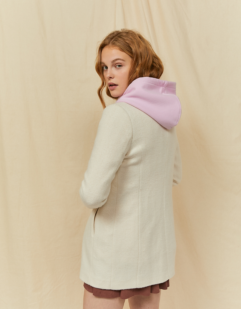 Crèmefarbener Mantel mit Reißverschluss