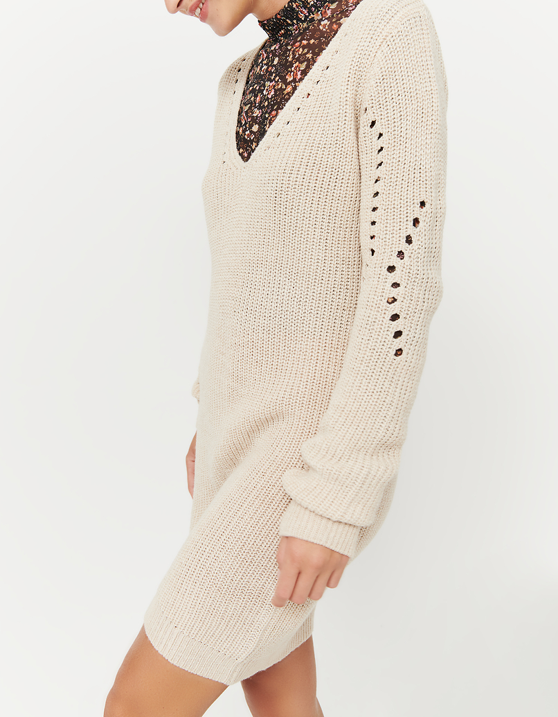 Beige Knitted Dress