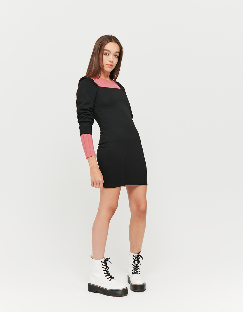 Black Dress with Balloon Sleeves