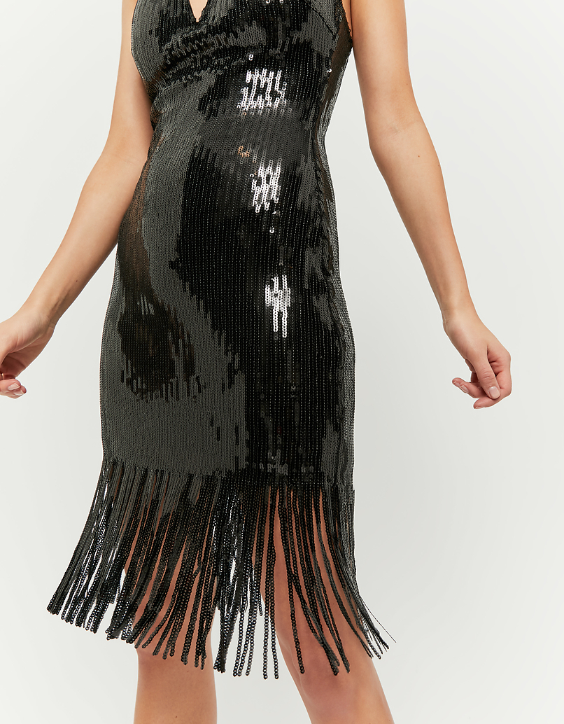 Black Fringe & Sequins Dress