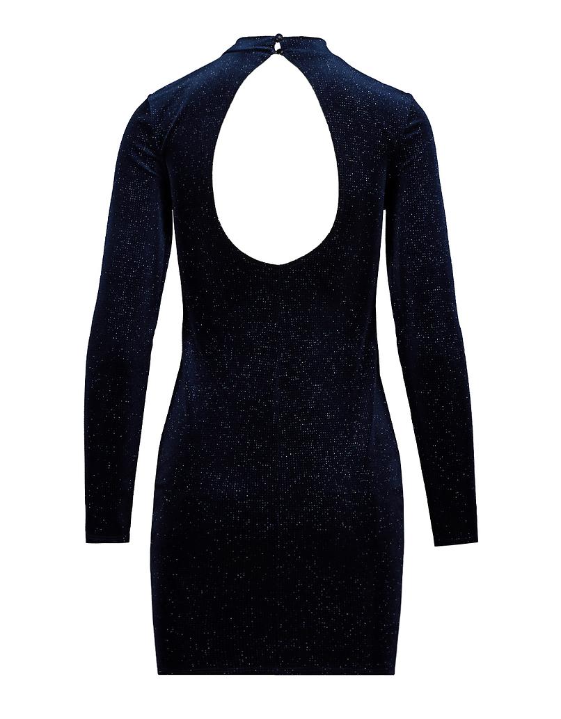 Blaues Kleid aus Samt mit offenem Rücken