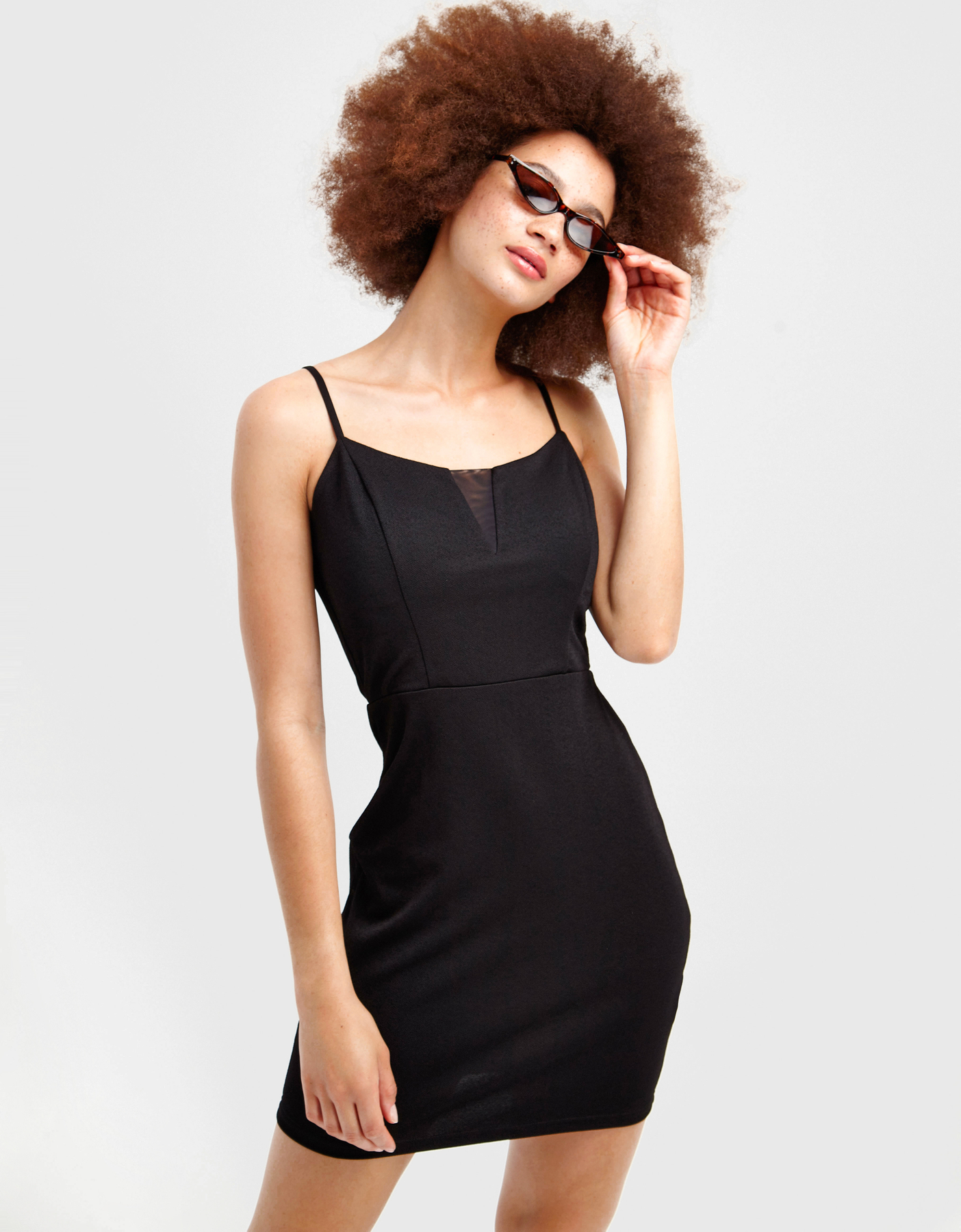 Schwarzes, figurbetontes Mini Kleid