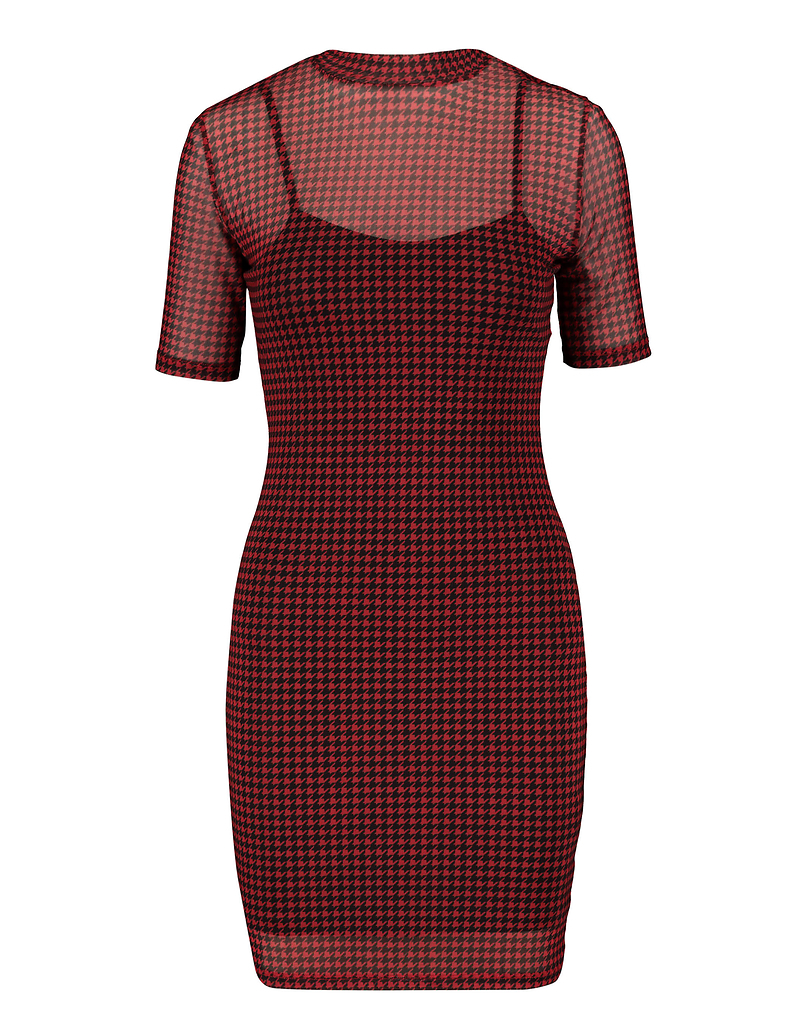 Rotes Kleid mit Hahnentrittmuster