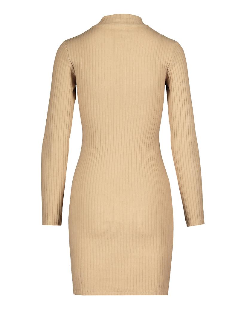 Beiges geripptes Kleid