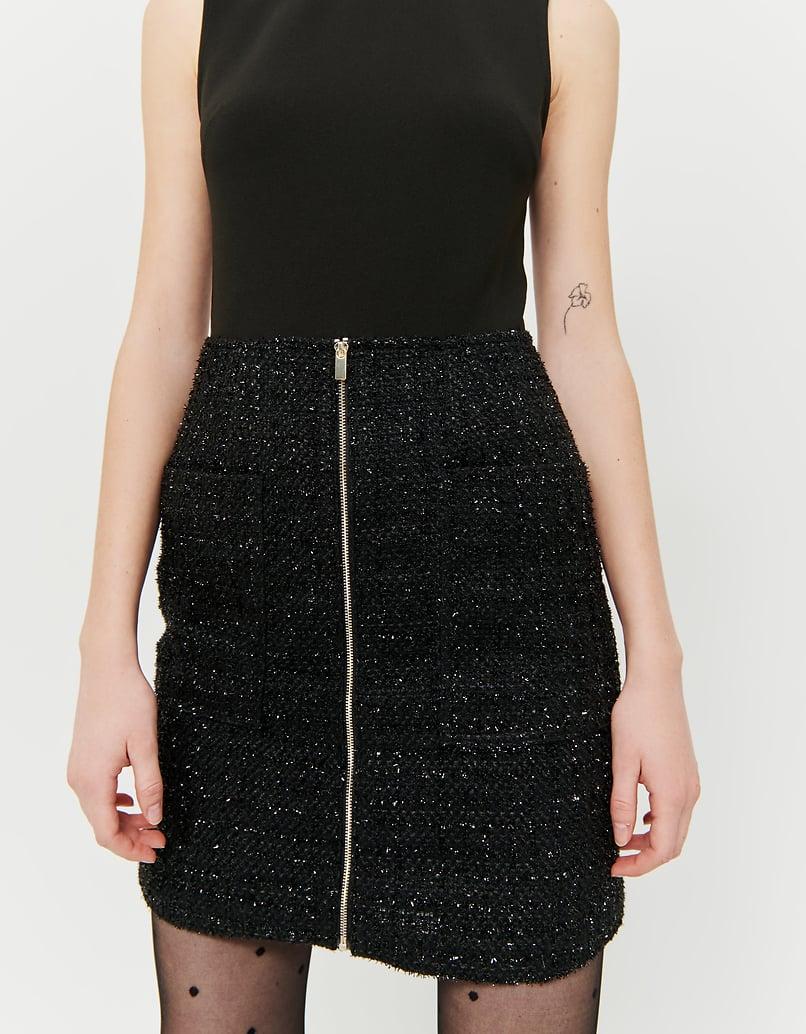 Combishort Noir en Tweed Pailleté